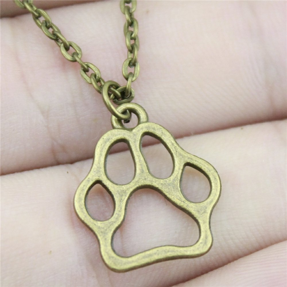 NEWME Paw Charms Pendant Metal Chain Necklace For Easter Day Handmade Jewelry Kraftpaper Box Gifts