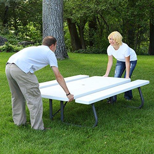 Lifetime 80215 Folding Picnic Table 6 Feet White Granite