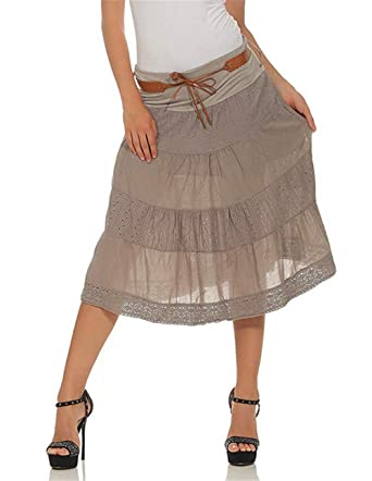 LASPERAL - Falda Media de Verano para Mujer, Falda de algodón con ...