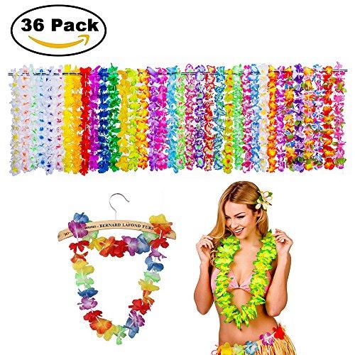 Zilong 36 Pack Hawaiian Luau Flower Lei Tropical Party Favors (3 Dozen) Dozen Lei