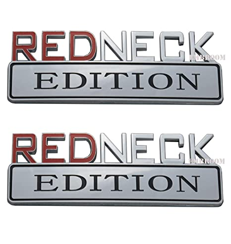 Black//Red 2 PACK REDNECK EDITION EXTERIOR EMBLEM CAR TRUCK BOAT DECAL LOGO REPLACEMENT FOR F-150 F250 F350 SILVERADO RAM 1500