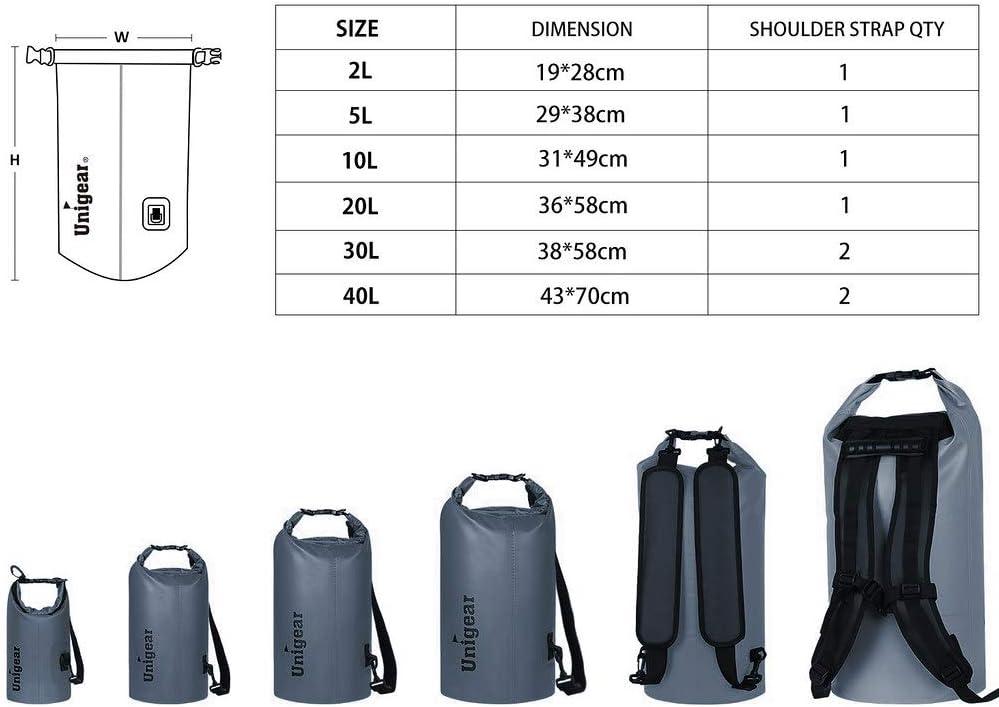 p/êche camping et snowboard 5//10//20//30//40/L, natation kayak rafting Unigear Sac /étanche en mat/ériau/600D avec /étui pour t/él/éphone /étanche et longue bandouli/ère r/églable pour bateau