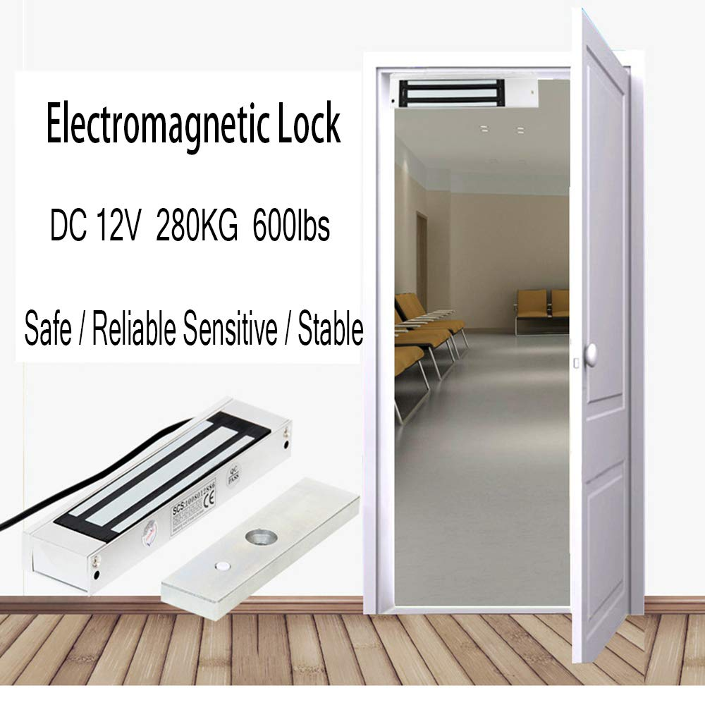 Impermeable 600LBS Cerradura Magn/ética Electromagn/ética Fuerza Retenci/ón para Control Acceso Puerta Sistema Seguridad Fail-Safe NC Modo AMAO 280KG
