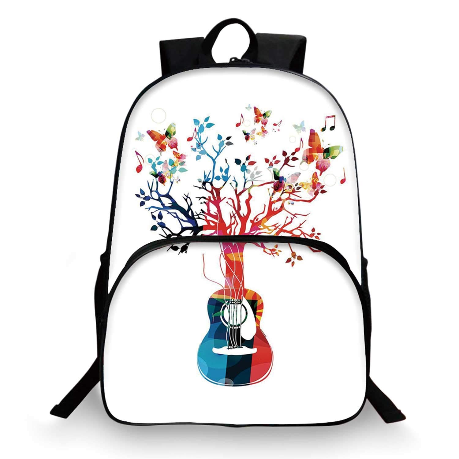 Guitar Various Schoolbag,Colorful Musical Composition with Guitar Tree and Butterflies Artistic Inspiration for student,11''Lx6''Wx15''H by C COABALLA