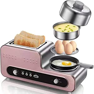 Breakfast Maker Multifunction Breakfast Bread 2 Slices Electric Toaster Oven Eggs Boiler Food Steamer Omelette Steak Frying Pan