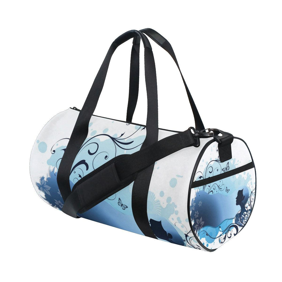 Anime Girl Butterfly Blue Flowers Lightweight Canvas Sports Duffel Yoga Gym Bags