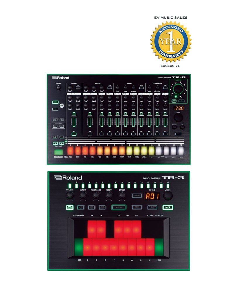 Roland TR-8 Rhythm Performer & TB-3 Touch Bassline Bass Synthesizer Bundle with 1 Year Free Extended Warranty