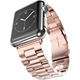 For Apple Watch 42mm - Solid Three Links Stainless Steel Metal Band Loop For Apple iWatch 42mm Rose