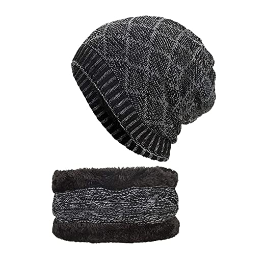 21e9cbb711501 Image Unavailable. Image not available for. Color: GOVOW Hat And Scarf Set  For Women Fleece Lined 2-Pieces Winter ...