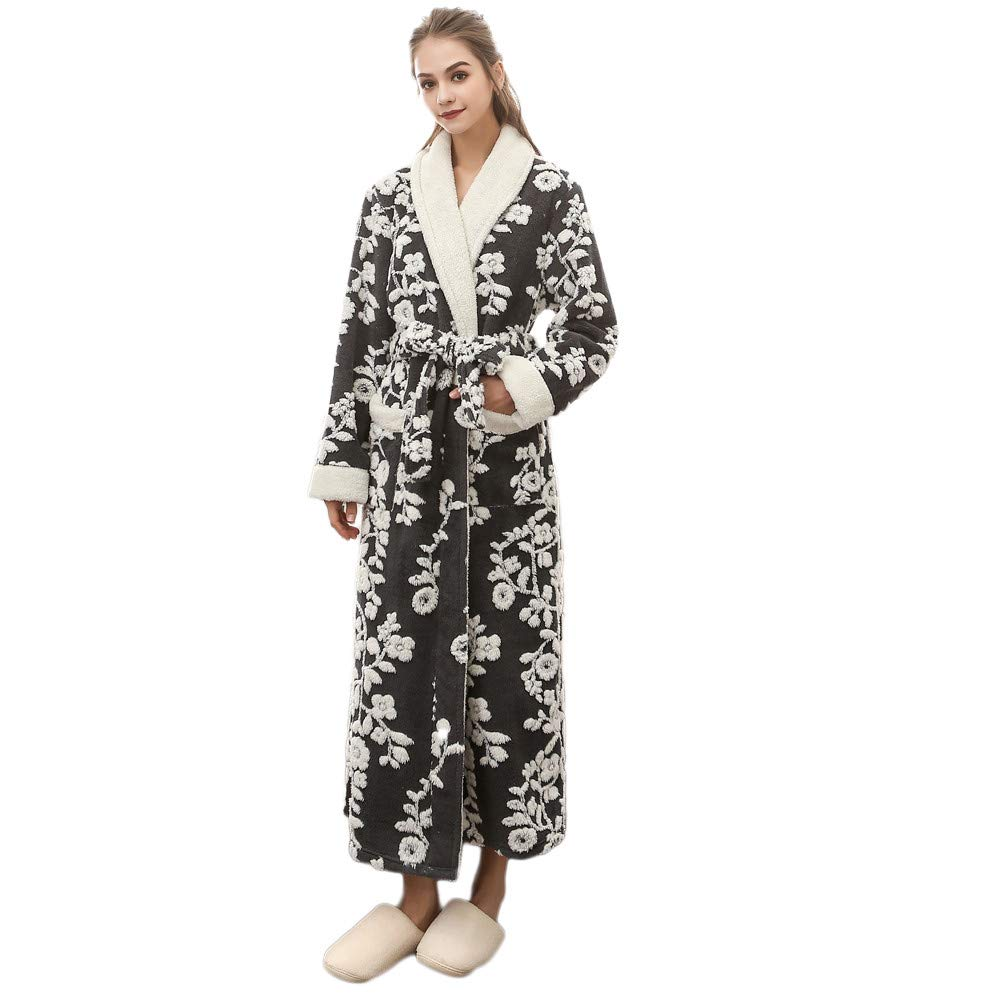 VZEXA Mens Womens Bathrobe Autumn Winter Warm Fleece Robe Lengthened Print Sleepwear by VZEXA