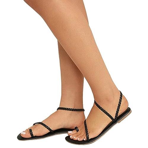 2a85d0a611cfec Damen Sandalen Flach Mumuj Sommer Freizeit Riemchen Sandaletten Gladiator  Halbschuhe Westernabsatz Schuhe Zehentrenner Peep-Toe