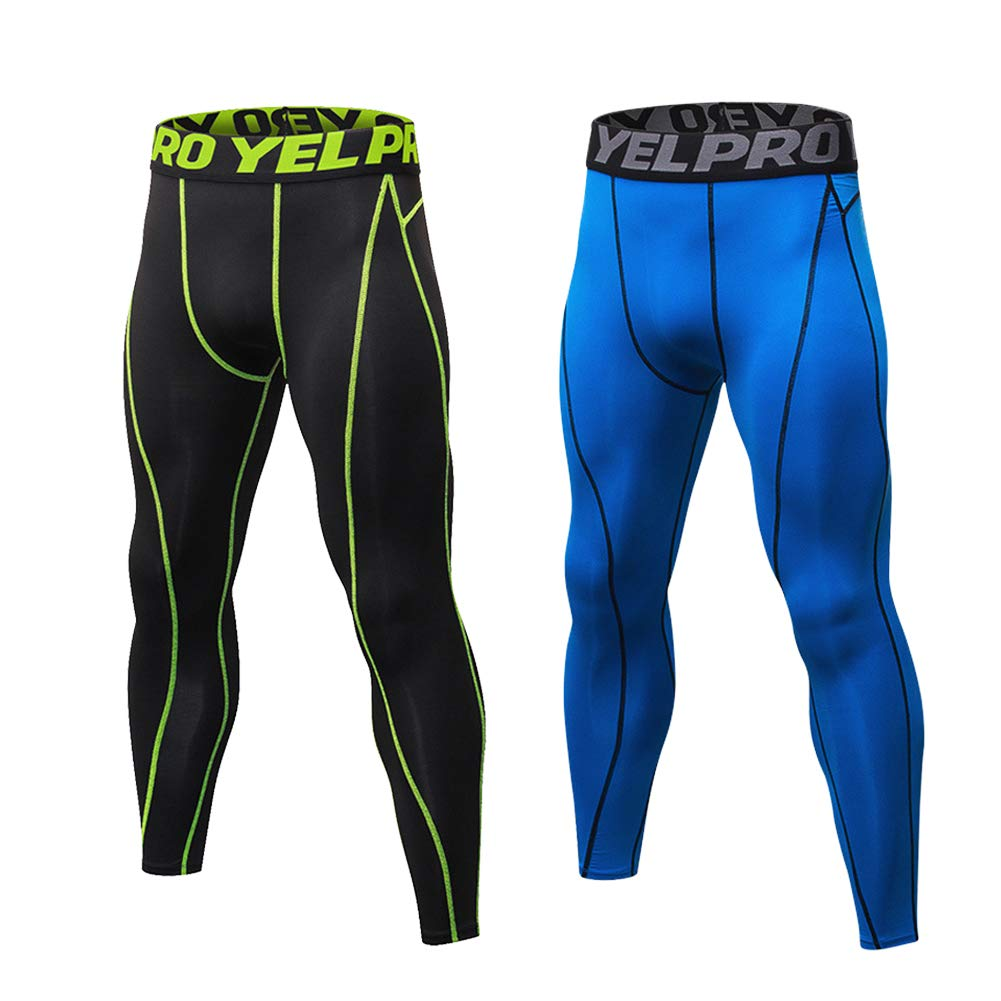 Minghe Men's 2 Pack Compression Pants Breathable Cool Dry Tight Legging Baselayer