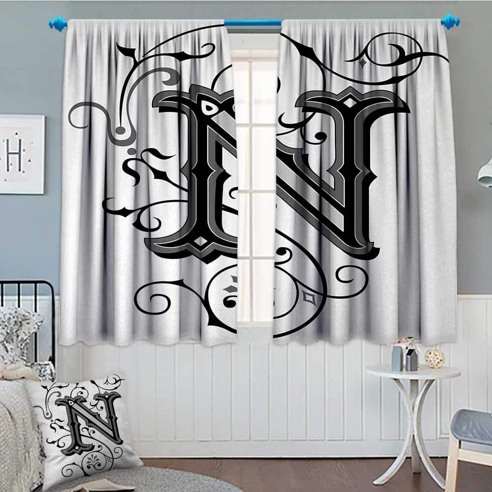 Anniutwo Letra M Cortina de Ventana Drape M Letra ornamentada con Zigzags Abstracto Chevron Hieroglyph Antiguas Formas artísticas Cortinas Decorativas para Sala de Estar 55