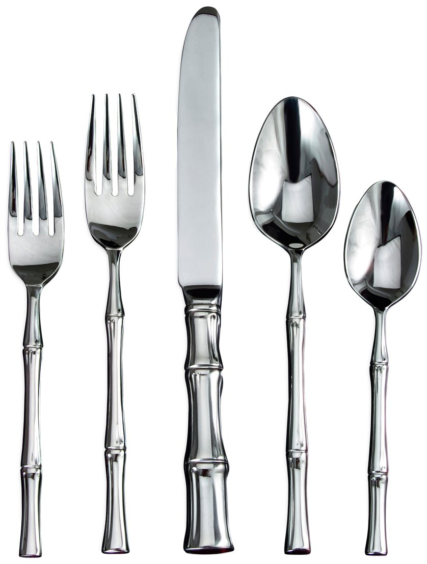 Mirror Polished Stainless Steel 20-Pc Bamboo Flatware Set - Service for 4