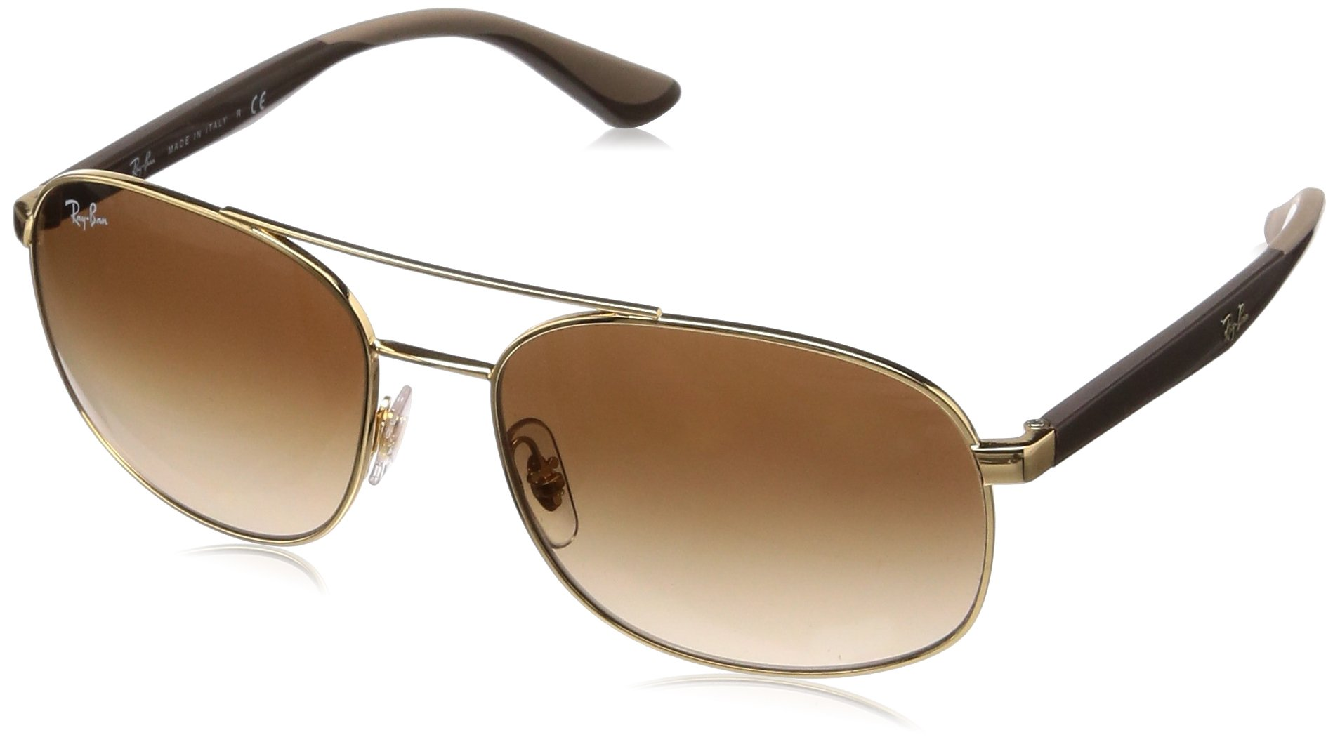 RAY-BAN RB3593 Square Metal Sunglasses, Gold/Brown Gradient, 58 mm by RAY-BAN