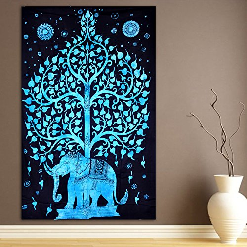 ModTradIndia-Elephant Under Tree Tapestry, Indian Hippie Wall Hanging , Bohemian Bedspread, Mandala Cotton Dorm Decor Beach Blanket