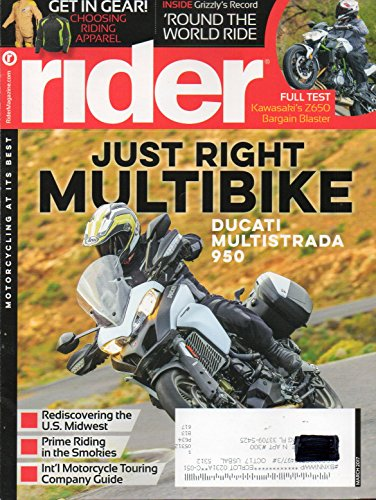 Rider Magazine 2017 Motorcycling At It's Best INSIDE GRIZZLY'S RECORD: ROUND THE WORLD RIDE Kawasaki's Z650 Bargain Blaster CHOOSING RIDING APPAREL (Craft Touring Jacket)