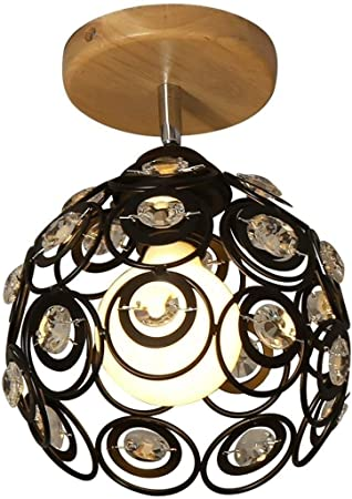 STERB Lámpara de Techo de Madera Maciza nórdica Simple Semi-Bola de Cristal incrustado Escalera Porche Pasillo Luces Decoración Creativa Inicio Light Foyer Luces del baño: Amazon.es: Hogar