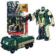 "Hasbro Year 2013 Transformers Movie Series 4 ""Age of Extinction"" Power Attacker 5-1/2 Inch Tall Robot Action Figure - AUTOBOT HOUND with Quick Draw Action (Vehicle Mode: Oshkosh Defense Medium Tactical Vehicle)"