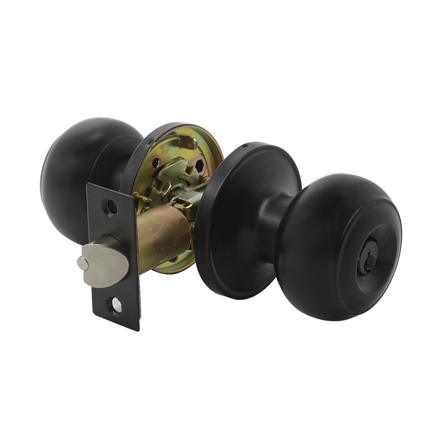 Ball Privacy Interior/Exterior Doorknob with Key, Vintage Keyed Entry Door Knobs Lock, Security Knob Handle for Bathroom/Bedroom/Kitchen, Matte Black Finish