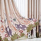 MYRU 1 Panel Dining Room Curtains,Kids Room Darkening Curtains,Cartoon Forest Park,Room Decor for Childrens Living Room Bedroom (54'' by 84'', Coffee Animal Park)
