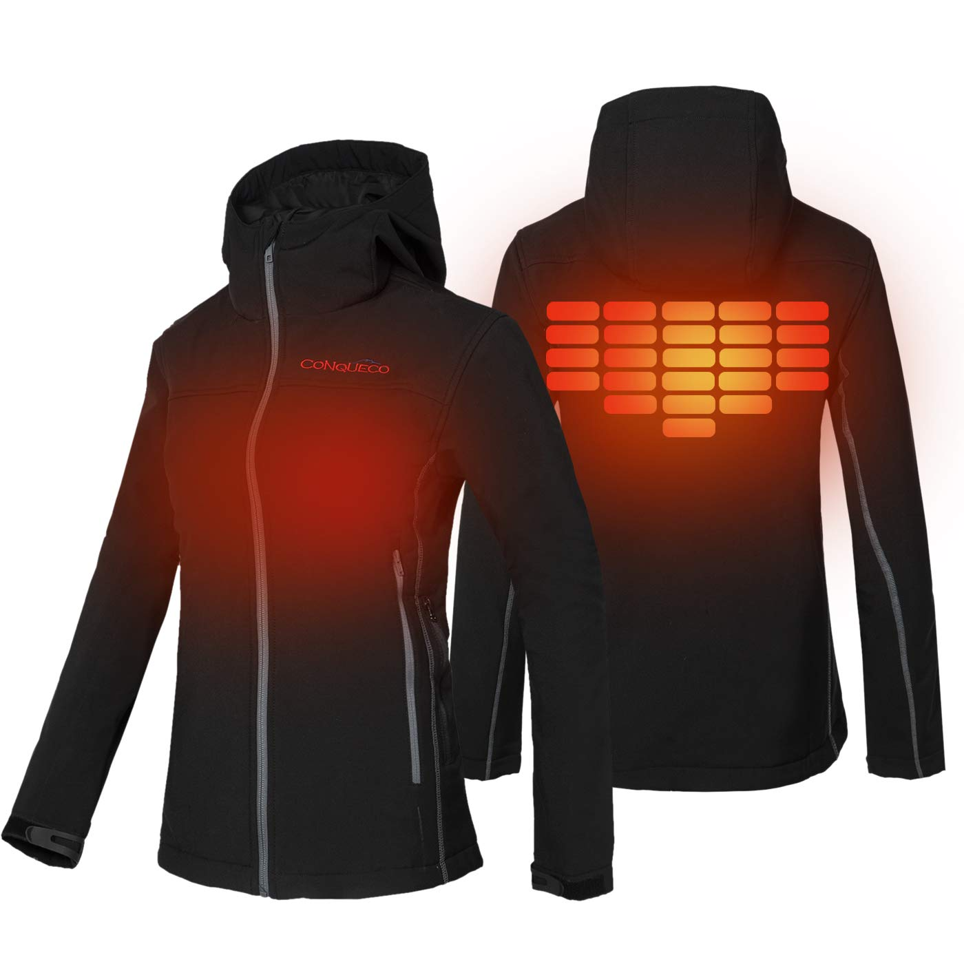 Womens Heated Clothing >> Conqueco Women S Heated Jacket Slim Fit Electric Hoodie Jacket With Battery Pack