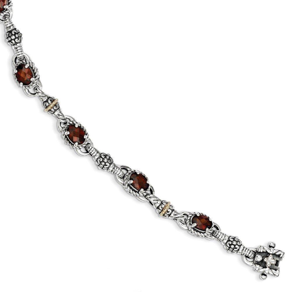 Jewels By Lux Sterling Silver w/14K Gold Oval Garnet Bracelet