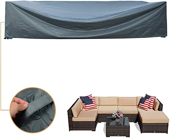 Waterproof Coismo 126x63x28 Extra Large and Durable Patio Furniture Cover for 7pcs Wicker Furniture Set