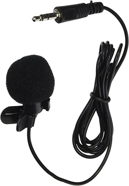 3.5mm hands-free mic microphone clip on lavalier lapel for pc laptop black*BLCA