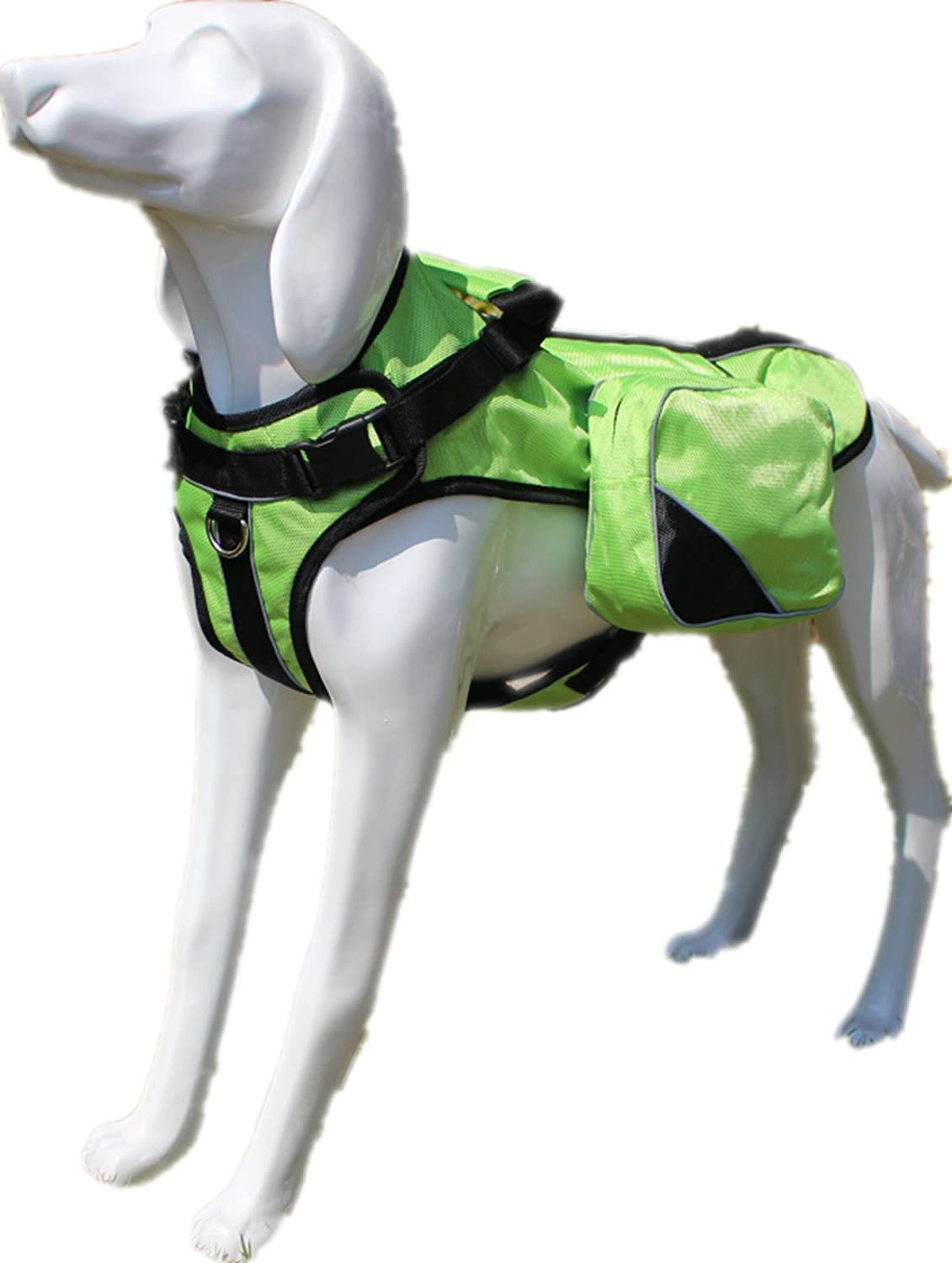 Green S Green S haoyueer No Pull Harness Therapy Dog Service Vest Removable Saddle Bag Dogs Backpack Harness(Green,S)