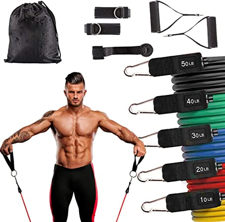 Amazon.com : Natural Latex Exercise Resistance Bands with Handles-Stackable up to 10-150 lbs, Training Tubes with Large Handles, Ankle Straps, Door Anchor Attachment, for Home Workouts : Sports & Outdoors