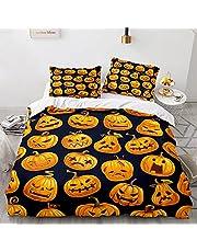 3 st sängkläder dubbelt påslakan set för barn flickor pojkar, sängkläder set med blixtlås, 3D påslakan med örngott, halloween pumpa