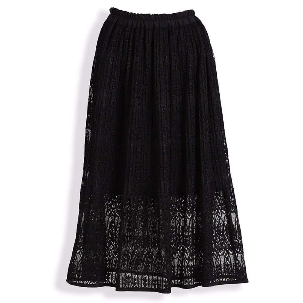 Black ZPSPZ skirt HalfLength Skirt with lace Elastic Waist AShaped Skirt