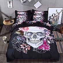 Sandyshow 3PC Skull Bedding King Microfiber Duvet Cover Set (King, Skull)