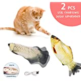 bubblestar 2PCS Plush Simulation Electric Doll Interactive Cat Toy Fish,Automatic Flopping Cat Fish Toys,USB Rechargeable,Fun