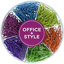 Decorative Multi-Colored 28 mm Paper Clips for Home & Office, Six Colors for Different Projects in Reusable Organizing Container, 480 pieces, By Office Style