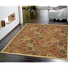 """Ottomanson Contemporary Paisley Design Modern Area Rug, 8'2"""" W x 9'10"""" L, Biege"""