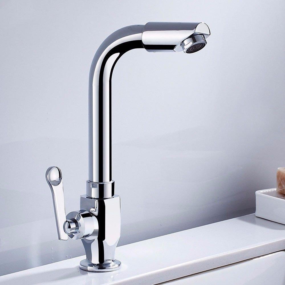 MEIBATH Waschtischarmatur Badezimmer Waschbecken Wasserhahn Küchenarmaturen Messing Kaltes Wasser Drehbar Küchen Wasserhahn Badarmatur