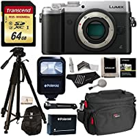 Panasonic DMC-GX8SBODY LUMIX GX8 Interchangeable Lens DSLM Camera Body Only + Transcend 64 GB High Speed + Polaroid 72