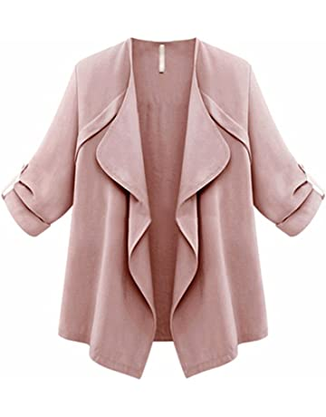 87655eef50cc NUWFOR Women s Solid Irregular Knitted Open Front Long Trench Coat Cardigan  for Winter Autumn White