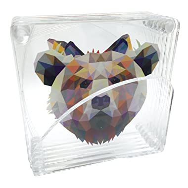 Acrylic 3.5  Assorted Coasters: Rabbit, Fox, Racoon, Wolf, Bear and Deer - Animal Print With Clear Acrylic Stand (Set of 6)