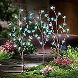 Solar Flower Branch Garden Stakes - Set Of 3