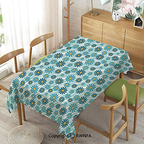 Tablecloth for Dining Room for Rectangle Tables,Daisy Flowers Blooms On Geometric Curvy Tilted Stripes Artful Design Illustration,Waterproof Stain-Resistant,Blue Yellow,55