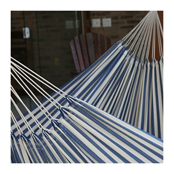 """NOVICA Navy Blue White Striped Cotton Fabric 1 Person Brazilian Style Hammock, 'Maritime Brazil' (Single) - Size: 125.2"""" L x 56.7"""" W Authentic: an original NOVICA fair trade product in association with National Geographic. Certified: comes with an official NOVICA Story Card certifying quality & authenticity. - patio-furniture, patio, hammocks - 61o %2BTc0GfL. SS570  -"""