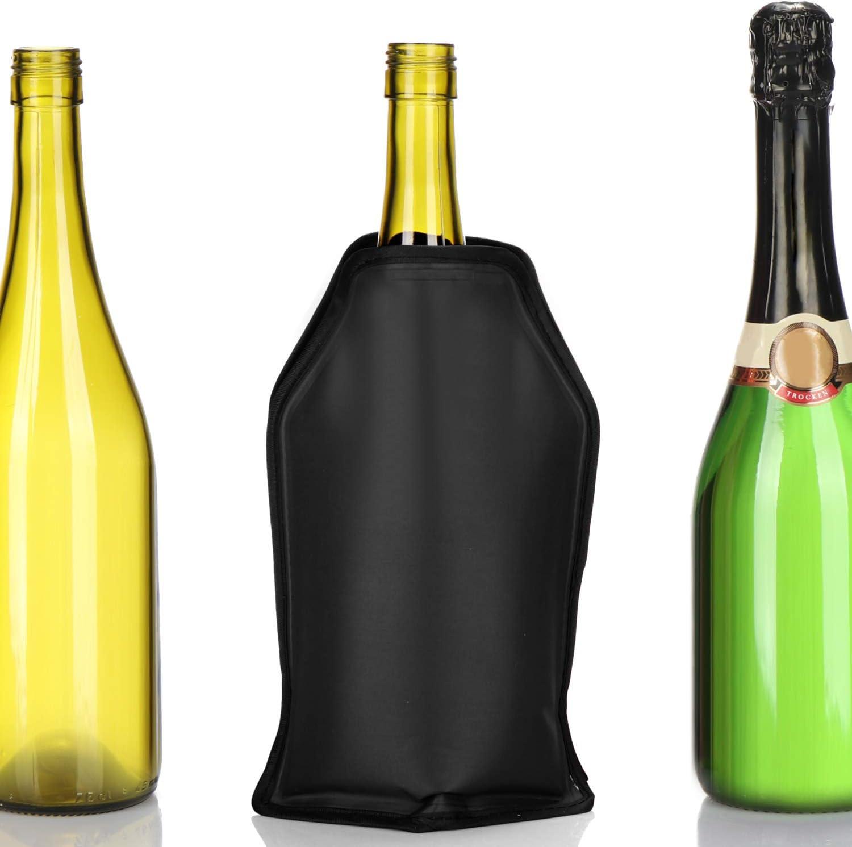 K/ühlmanschette f/ür Sekt Schwarz Bier und Softdrinks COM-FOUR/® 2x Flaschenk/ühler f/ür unterwegs Wein Sektk/ühler Manschette mit Gummiband
