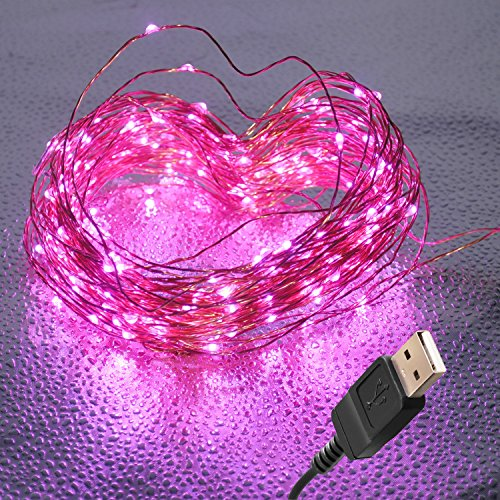 100 LED Fairy Lights - Copper Wire String Transforms Your Room, Dorm or Mason Jar Into Starry Dream, USB 33 Ft/10M (Pink String Lights)