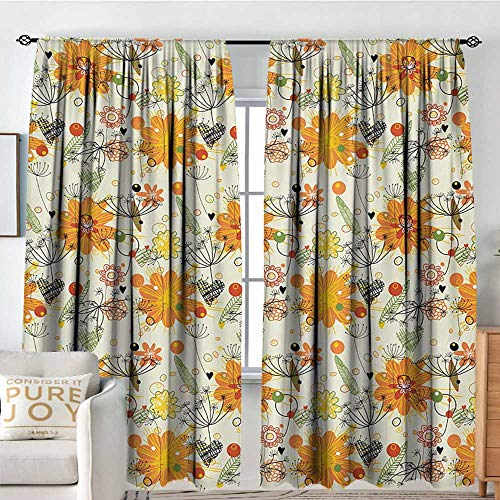 Petpany Blackout Curtains Romantic,Cheerful Spring Nature Inspired Lovely Doodle Composition with Floral Elements,Multicolor,Rod Pocket Drapes Thermal Insulated Panels Home décor 54