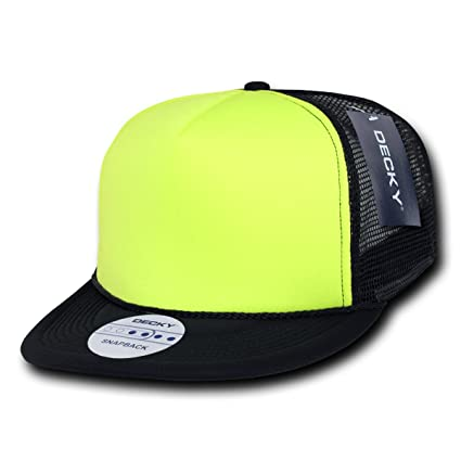 DECKY Inc Flat Bill Neon Two Tone Mesh Trucker Baseball Caps 222 Black Neon  Yellow 9a1a076454eb