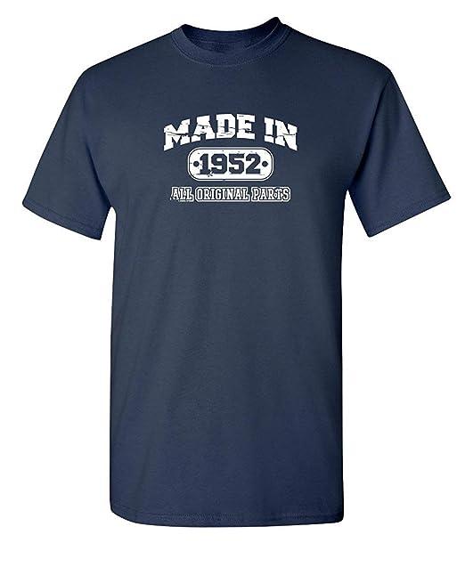 Wedisula 65th Birthday T Shirt Made In 1952 Vintage Novelty Gift Idea Mens Funny