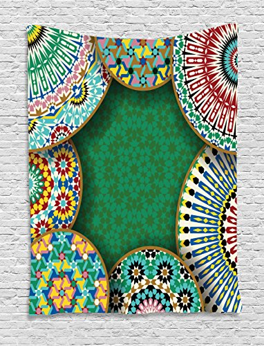 (Ambesonne Moroccan Tapestry, Oriental Motif with Mix of Hippie Retro Circle Morocco Mosaic Lines Sacred Design Print, Wall Hanging for Bedroom Living Room Dorm, 60 W X 80 L Inches, Multicolor)